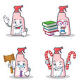 set of cleaner character with candy book judge vector image vector image