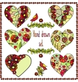 Set of six hand drawn hearts with floral frame vector image
