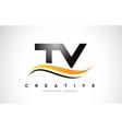tv t v swoosh letter logo design with modern vector image vector image
