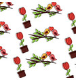 valentines day bird branch and potted flower vector image vector image