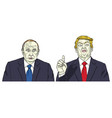 vladimir putin with donald trump cartoon vector image vector image