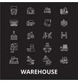 warehouse editable line icons set on black vector image vector image