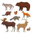 wild animal painted icon set vector image
