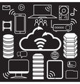 servers of data center and network elements icons vector image