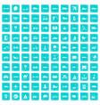 100 transport icons set grunge blue vector image vector image