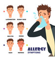 allergy symptoms - cartoon vector image