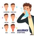 allergy symptoms - cartoon vector image vector image