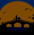 Asia at night landscape with lovers on the bridge vector image