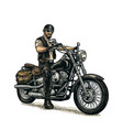 biker riding a motorcycle engraved vector image vector image