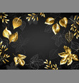 black background with gold leaves vector image vector image