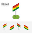 bolivia flag set of 3d isometric flat icons vector image vector image