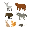 Cartoon set northern deer bear boar wolf rabbit vector image