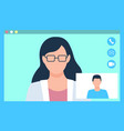 consulting with doctor online video chat vector image vector image