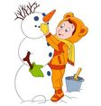 cute and happy cartoon boy and a snowman vector image