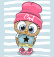 cute cartoon owl in a hat and scarf vector image vector image