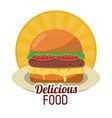 delicious food fresh burger fast unhealthy sticker vector image
