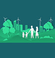 eco city and family paper cut smart city vector image vector image