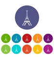 Eiffel tower set icons vector image vector image