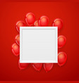 empty white frame on a wall with flying red vector image vector image