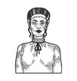 fabulous artificial woman sketch engraving vector image vector image