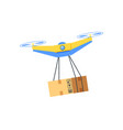 flying equipment with hanging box drone vector image