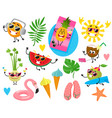 funny fruit characters and summer holiday items vector image vector image