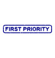 grunge blue first priority word square rubber vector image vector image