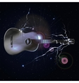 guitar in space with lightning vector image vector image