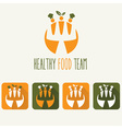 healthy food team and web icons vector image vector image