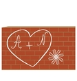 Heart with letters on the brick wall vector image