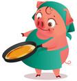 housewife pig female bakes pancakes in pan vector image