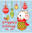 little mouse is sitting in a christmas mitten vector image vector image