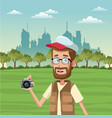 male tourist at park vector image vector image
