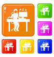 man office accounting icons set color vector image vector image