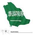 Map of Saudi Arabia with flag vector image vector image