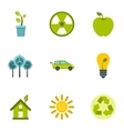 Natural environment icons set flat style vector image vector image