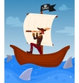 Pirate leads his ship vector image