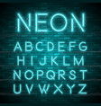 Realistic neon alphabet bright neon glowing font