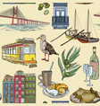 seamless pattern with portugal landmarks vector image vector image