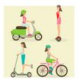 set of girls riding modern street transport vector image vector image