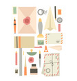 set various supplies on theme old vector image vector image