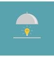 Silver platter cloche and yellow idea light bulb F vector image vector image