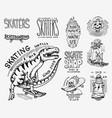 skateboard shop badges set dinosaur and skeletons vector image vector image