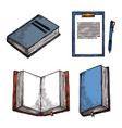 sketch old vintage books abd notepad icons vector image