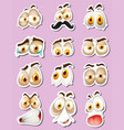 sticker design with facial expressions vector image vector image