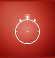 stopwatch icon on red background time timer sign vector image vector image