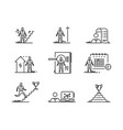 thin line icons set business people development vector image