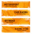 tyre tracks offroad tire prints grunge banners vector image vector image