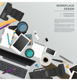Workspace of the photographer videographer Mock up vector image