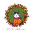 wreath autumn leaves portrait a cute vector image